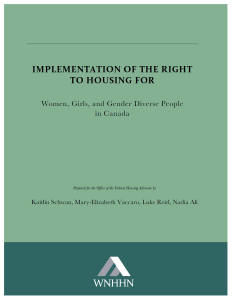 Report 3: Implementation of the Right to Housing for Women, Girls, and Gender Diverse People in Canada